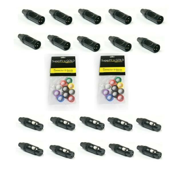 SuperFlex Gold XLR DMX 3 Pinverbinder - 10 Männlich und 10 Weibliche Farbringe