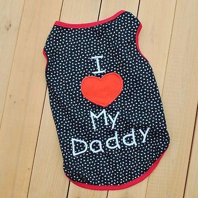 Puppy Small Dog Cat Pet Love Mom Lace Dress Clothes Dad black Vest Shirt Apparel