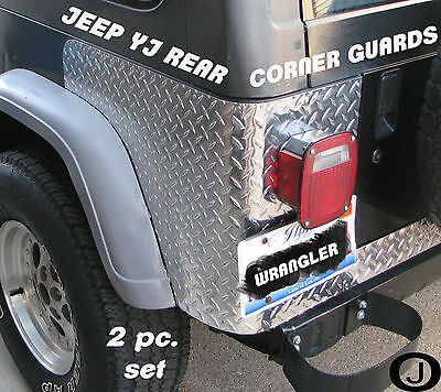 JEEP CJ7 OR YJ WRANGLER 2 PC DIAMOND PLATE REAR BODY ARMOR CORNER GUARD KIT