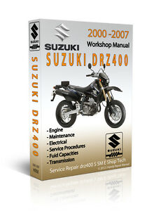 suzuki drz400 drz 400 sm s e service repair manual cd only ebay rh ebay com suzuki drz 400 service manual pdf 2001 suzuki drz 400 service manual