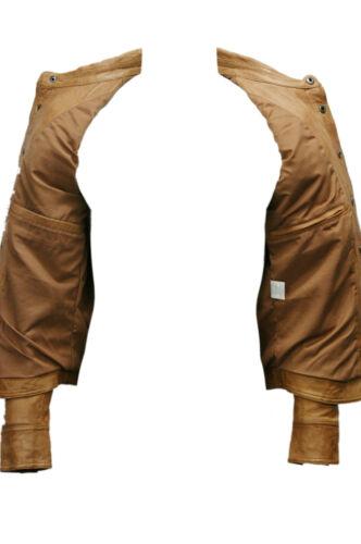 Para Hombres Caballeros Bronceado Collar Ajustable Casual Retro Camisa Chaqueta De Cuero Real Suave
