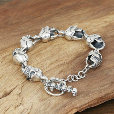 Solid 925 Sterling Silver Thai Men/'s Eight Diagrams  Chain Link bracelet S3106