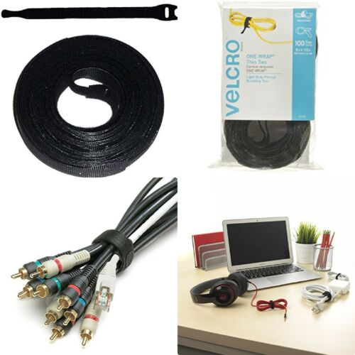 """100 VELCRO Brand Ties Cable Cord Organizer Wraps Reusable Die Cut Strap 8/"""" NEW"""
