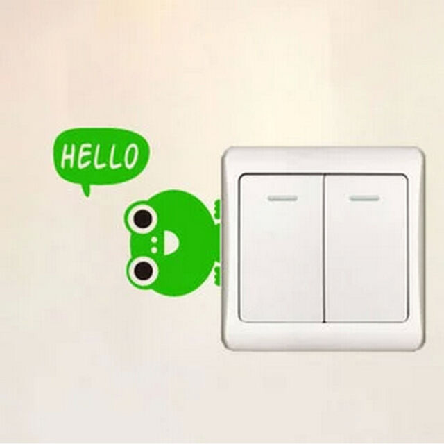 Children's Room New Waterproof PVC Decal Wall Switch Hello Frog Sticker Wall