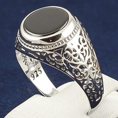 Turkish Handmade Original 925K Sterling Silver Black Onyx Stone Men's Ring