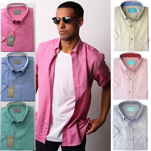 Alexander-Hay-UOMO-OXFORD-MANICA-CORTA-IN-COTONE-Camicia-casual-s-7xl-6-colori
