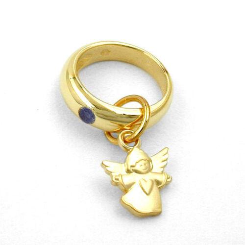 Jungen Taufe Herz Engel Taufring blauer Safir Echt Gold 585 mit Kette Silber 925