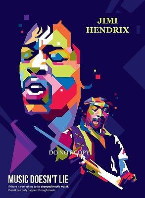 JIMI HENDRIX POP ART  PHOTO A4 GLOSSY PHOTO POSTER ROCK MUSIC LEGEND