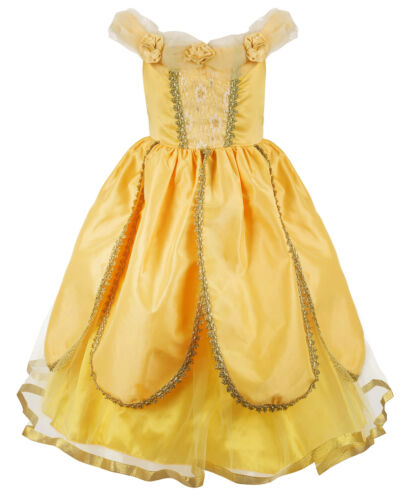Kids Princess+Belle Dress Beauty and the Beast Cosplay Costume Fancy Party Dress