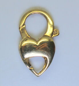 Estate-14K-Yellow-Gold-Large-Heart-Lobster-Double-Clasp-21mmx13mm