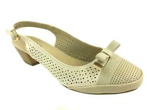 LADIES-LOW-HEEL-SLING-BACK-LEATHER-LINED-COURT-SHOES-BOW-DETAIL-SIZE-3-8