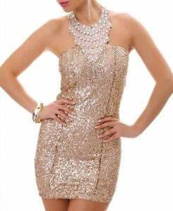 SeXy-MiSS-Damen-Mini-Kleid-S-34-Glitzer-Abend-Dress-Steine-Pailletten-edel-gold