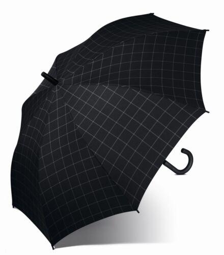 Esprit digitale long AC BLACK Parapluie Parapluie canne parapluie Messieurs Check Black NEUF