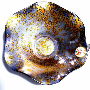 Glassware-Modern-Art-Glass-Bowl-Plate-Platter-9-Inch-Diameter-Colorful-Speckled