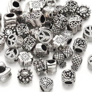 35~40pc//100g Mix Tibetan Silver Alloy Large Hole European Beads Spacer 10~11mm