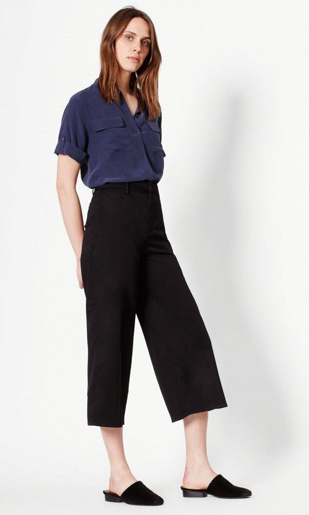 Slim Signature Equipment 100% Silk Short Sleeve Shirt Peacoat
