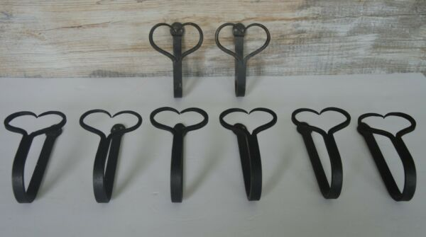 Set Of 8 Cast Iron Hat Hooks / Coat Hangers, Hand Forged, Heart Shaped Design