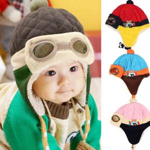 Winter Baby Earflap Toddler Girl Boy Kids Pilot Cap Warm Soft Beanie ... b2b3d9bf8f2