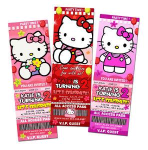 HELLO KITTY BIRTHDAY PARTY INVITATION TICKET CUSTOM CARD INVITES