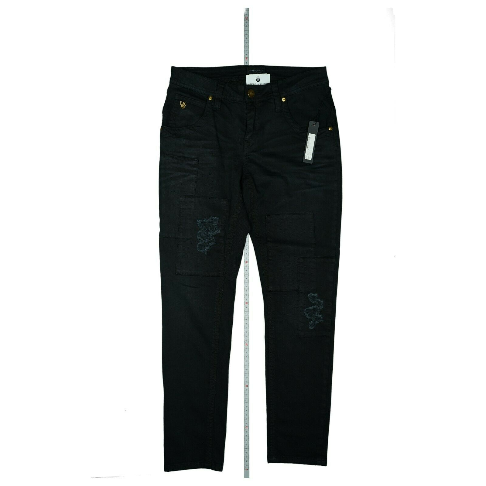 LIEBESKIND Damen Stretch Jeans Hose slim destroyed W30 L30 used look schwarz NEU