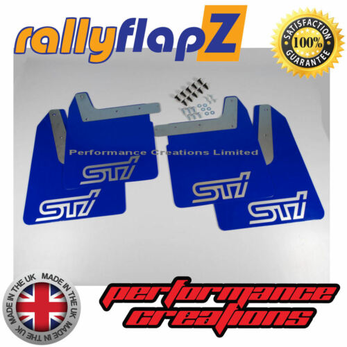 Qty4 Bavettes /& fixations subaru impreza new age 01-07 4 mm PVC Bleu STi Argent