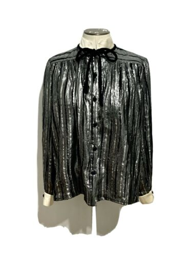 Vintage Valentino Metallic Silk/velvet Blouse, 6
