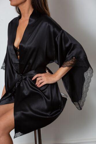 100/% soie Neuf Noir Pour Femme Satin Kimono Robe De Chambre Peignoir Toutes Tailles