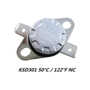122°F Degree Celsius N.O KSD301 50°C Temperature Switch Thermostat 10A 250V