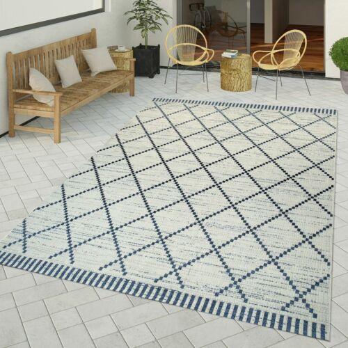 /& Outdoor Teppich Geometrisch Abstraktes Rauten Muster Weiß Flachgewebter In