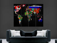 WORLD MAP IN FLAGS ART LARGE ART HUGE  GIANT POSTER PRINT