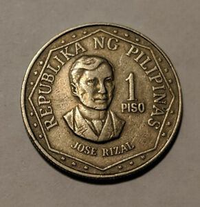 PHILIPPINES ONE PISO 1975 KM-209.1 AU Excellent Detail Jose Rizal sun