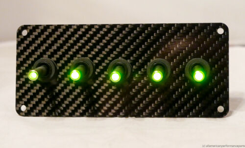 GREEN AUTHENTIC CARBON FIBER PANEL w// LED toggle switches