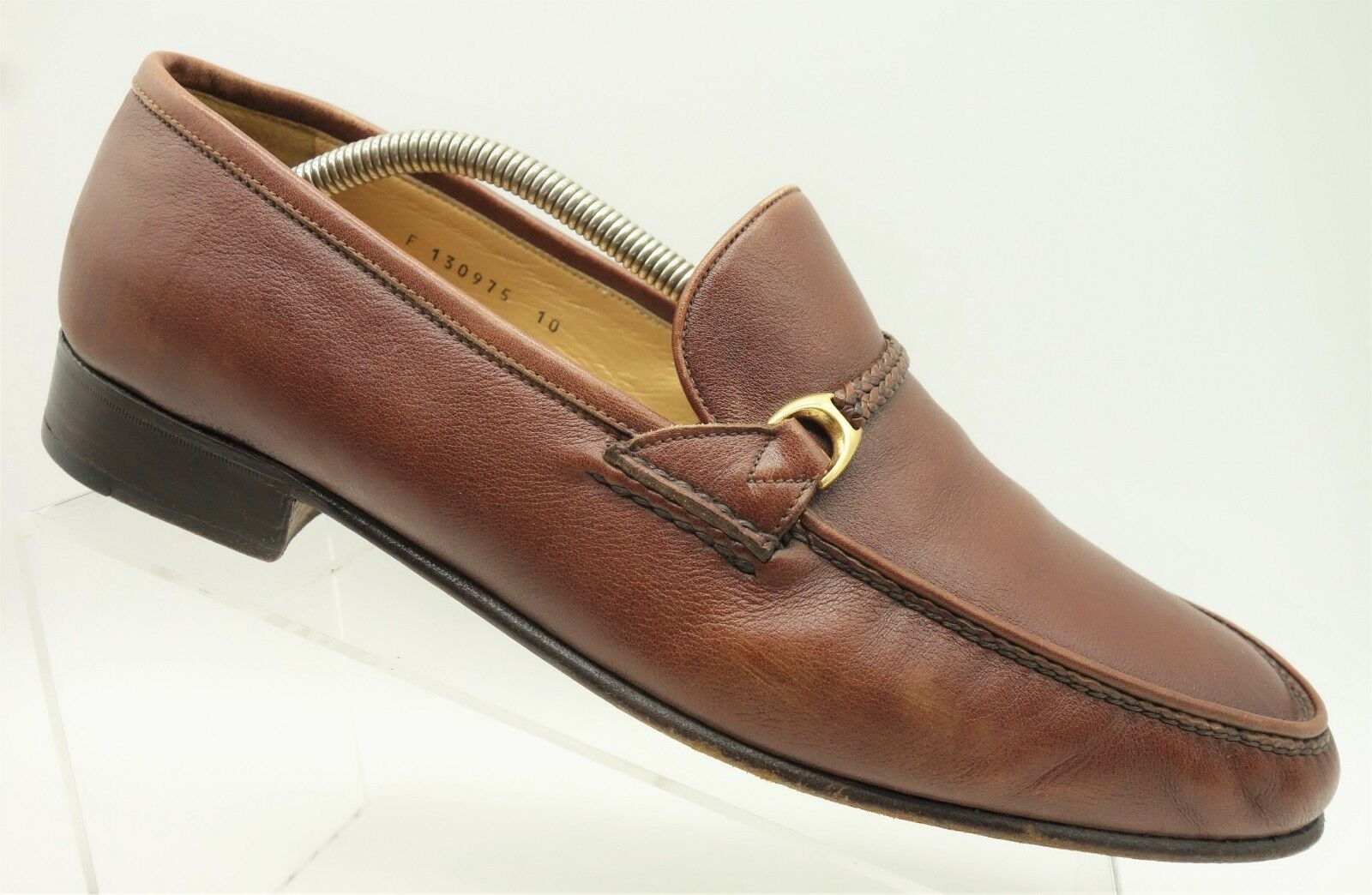 Tanino Crisci  Brown Leather Slip On Casual Loafers shoes Men's 10 M