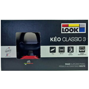NEW-2018-LOOK-KEO-CLASSIC-3-Road-Pedals-with-Gray-Grip-Cleats-BLACK-RED