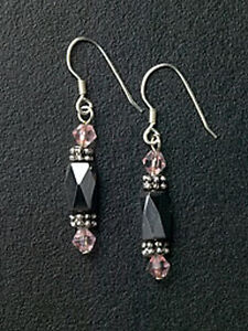 Silver-Magnetic-Hematite-Beaded-Dangle-Earrings-Purple-Crystals-Free-Shipping