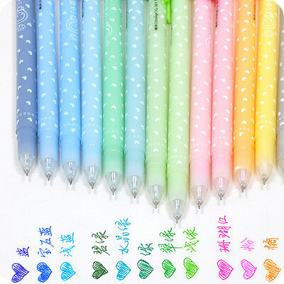 12 x Cute Smooth Writing Shining Candy Color Ballpoint Pen Stationery Kids Gift