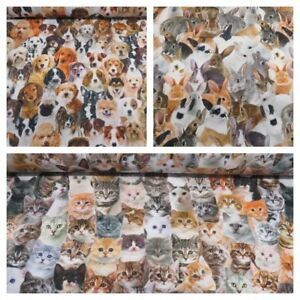 Designer-Digital-Printed-100-Cotton-Fabric-Pets-Cats-Dogs-Rabbits-Faces