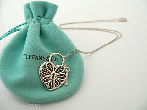 Tiffany co silver 18k gold filigree heart key necklace pendant image is loading tiffany co silver 18k gold filigree heart key aloadofball Choice Image