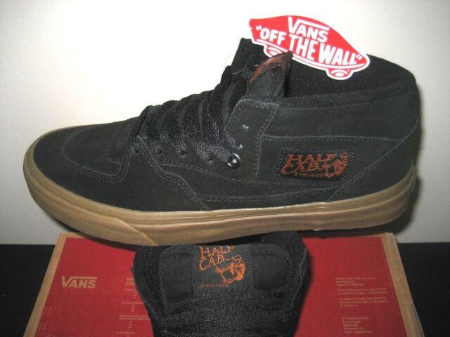 777f9cac923c51 Vans Mens Half Cab Gum Black Black Suede Canvas Skate Shoes Size 7 Classic  NWT