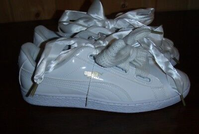 best sneakers 41be5 268fb Puma Basket Heart Patent Women/s White Patent Leather Sneakers Shoes 9.5 |  eBay