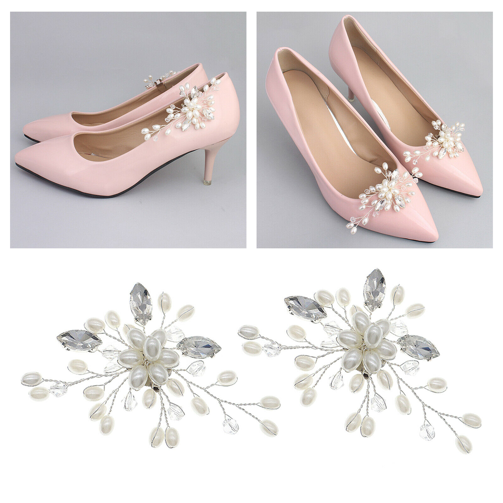2 Packs Decorative Shoe Clips Female Bridal Shoe Charms Buckle Ornament