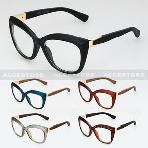 c2f0c205ba74 Women Cat Eye Clear Lens Fashion Glasses Retro Vintage 60s Color ...
