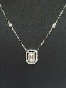 "Oro Blanco de 18 Quilates Baguette Diamante Collar Con 0.48 Quilates VS/G-H 16"" pulgadas"