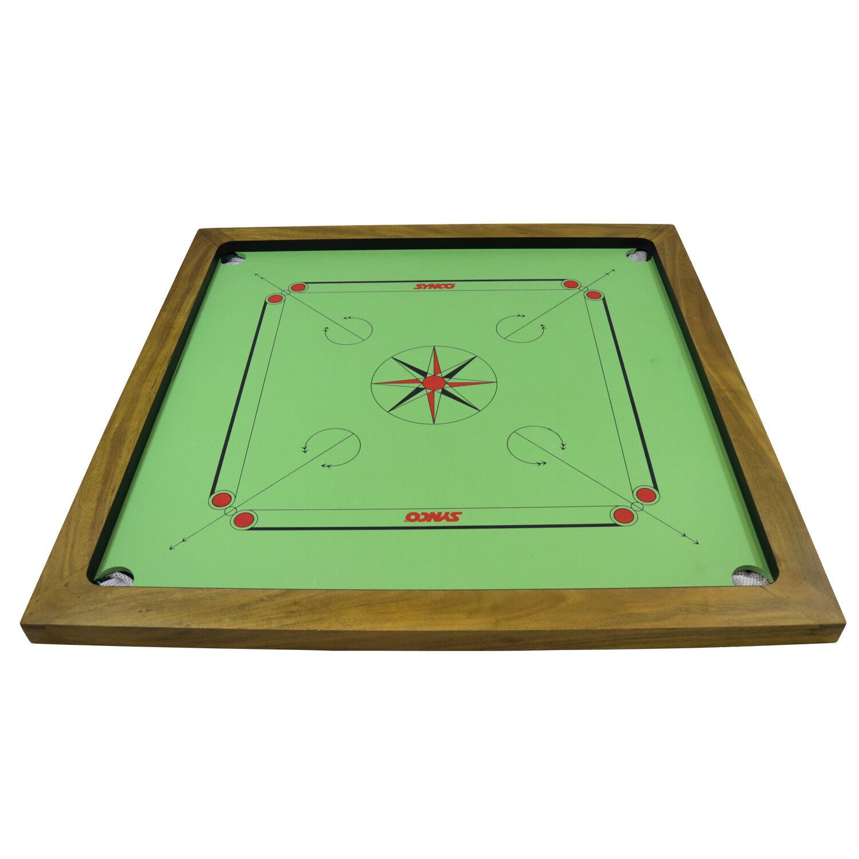 Green Carrom Board US Tournament Design 8mm 33'' x 33'' Birch Ply & Acacia Frame