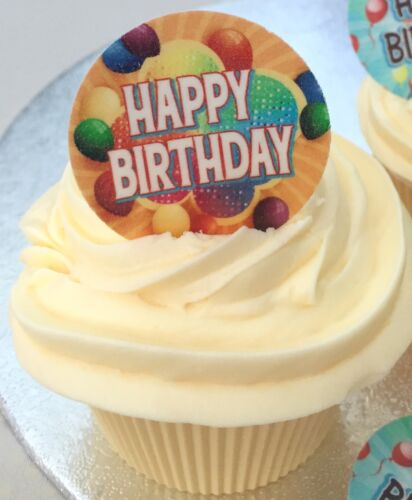 Happy Birthday Precut Rice Wafer Paper Party Cupcake Bun Toppers 12 24 Or 35
