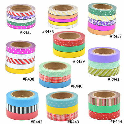 Washi Tape Set DIY Paper Sticky Masking Adhesive Sticker Scrapbooking Deco Lot
