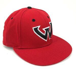 Vintage-Wayne-Estado-Universidad-Warriors-The-Game-Gorra-Ajustada-Tamano-7-Rojo