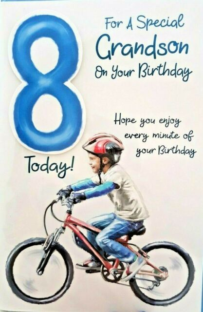 GRANDSON 8th BIRTHDAY CARD AGE 8 BIKE DESIGN QUALITY LOVELY VERSE