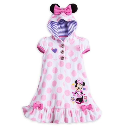 Disney Store Minnie Mouse Pink Ears Polka Dots Swimsuit Hooded Cover Up Towel