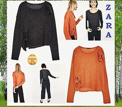 3df5a2c280af3 ZARA Knot T-Shirt Orange Grey Marl Long Sleeve New Crop Top M L XL ...